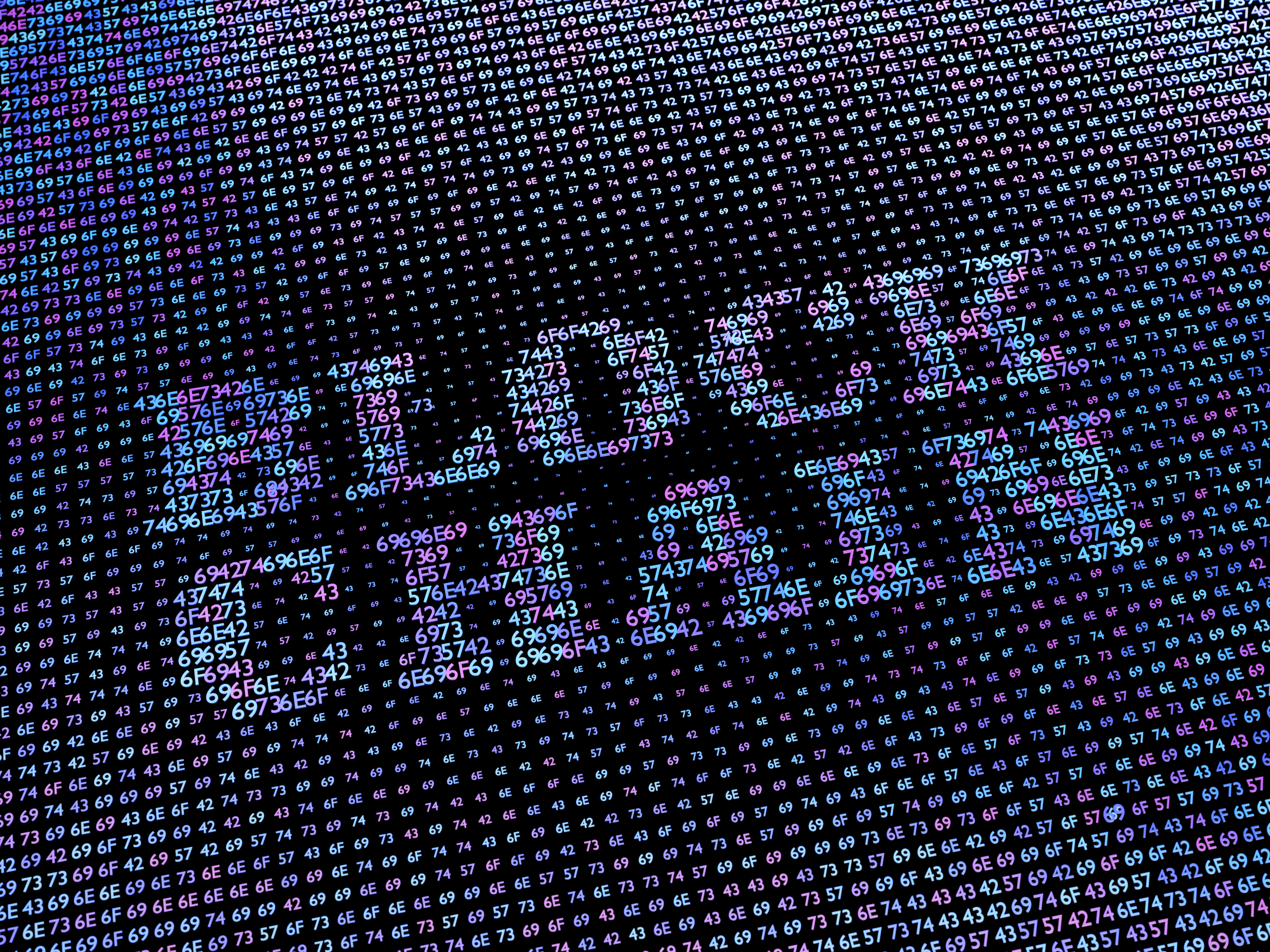 Blockchain word made from hex numbers array.3D illustration